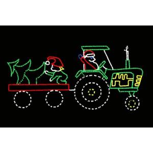 WF-LED-SANTA'S GREEN TRACTOR & TOY WAGON